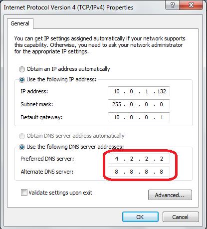 Preferred DNS Server setting